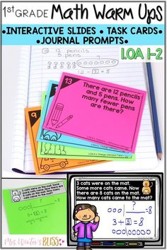 Help first grade students learn to represent and solve problems involving addition and subtraction with daily math warm ups. The math warm ups can be used as  morning work activities, math talk lessons, math centers, or exit tickets. These math task cards, journal prompts, and interactive slides align with common core standards 1.OA.1, 1.OA.2. #teachingmath #firstgrade #addition #subtraction