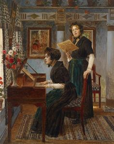 Walter Firle or Walther Firle (German,1859-1929) ~ The Singing Lesson ~ ca.1900 ~ He was a 19th-century painter from Germany born in Wrocław and is known for portraits and genre works. He died in Munich, where much of his work remains in public collections.