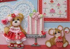 Sweet Valentine Girl Tear Bear premade scrapbook pages Paper Piecing craftyemg
