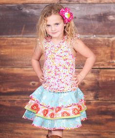 This Pink Top & Tiered Skirt - Infant, Toddler & Girls by Jelly the Pug is perfect! #zulilyfinds