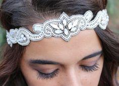 "Amazon.com : Pink Pewter ""Harley"" White & Silver Beaded Stretch Band Headband Hair Jewelry #pinkpewter  http://www.amazon.com/gp/product/B00JEL8ZUS"