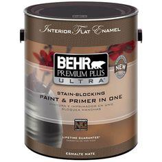 Behr premium plus 1 gal ultra pure white semi gloss enamel zero voc interior paint and primer for Behr interior paint and primer in one