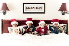 holiday photos a Fun idea for shooting kids for a Christmas photo shoot, reading holiday books in bed Christmas Minis, Christmas Photo Cards, Family Christmas, All Things Christmas, Winter Christmas, Christmas Humor, Holiday Cards, Christmas Holidays, Christmas Cards