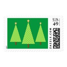 Lime green polka dot modern Christmas tree Postage - christmas stamps custom merry xmas postage diy customize