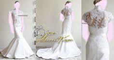 Sleeve Wedding Dresses Bridal Gown , Ivory SimPle Lace Chiffon Tulle , or prom dress , Idea , Jacket Bridal