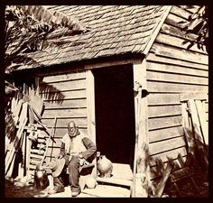 Uncle Jack and his Home in Florida.  Uncle Jack is aged 90 in the photo. He arrived in America as a slave 75 years earlier at age 15 --- at the end of the 18th Century.  For a life of faithful service, Buckingham Smith --- who purchased Jack as a boy --- gave this relatively well-built house to Jack as a gift, including a half-acre of ground.