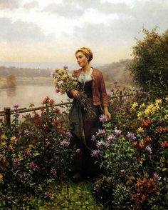 ~ Daniel Ridgway Knight ~ American artist, 1839-1924: Woman in a Garden