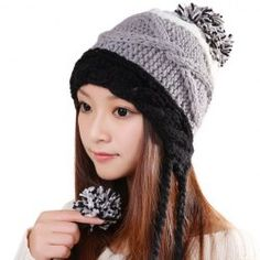 $5.79 Sweet Little Ball Embellished Patchwork Design Knitted Bomber Hat For Women
