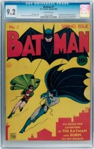 An investment partnership has paid a record price of $850,000 for a 1940 copy of the Batman #1 comic book 11th May 2012.