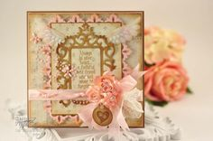 4-15-12 - RECIPE:  Stamps: Our Daily Bread Designs,   Dog Sympthy  Paper:  Glitz Design, Bazzill  Ink: Brushed Corduroy Distress Ink  Accessories: Spellbinders™ Antique Frame and Accents,  Spellbinders™ Damask Accents,  Spellbinders™ Home Sweet Home, Spellbinders™ Bitty Blossoms,  seam binding, Recollections Pearls, lace  Additional Ideas:  Our Daily Bread Designs Card Gallery,  Spellbinders Blog