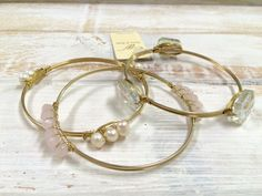 3 Piece Pink and Clear Glass and Pearl Goldtone Wired Bangle Set