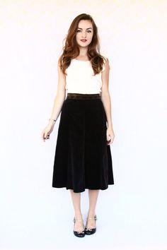 high waist skirt / high waisted black velvet / by aLaPlageVintage, $44.00