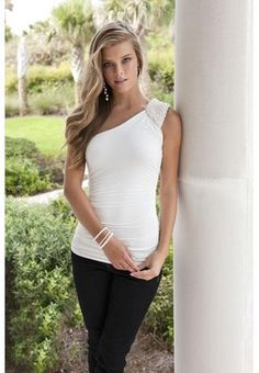 "I really like this top, the shoulder part is ""pearls"" not sure about that, but it's only $24.90"