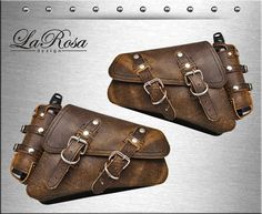 2004-2016 LaRosa Rustic Brown Leather Harley Sportster XL 1200 883 48 Left & Right Saddlebags with Fuel Bottle Holder