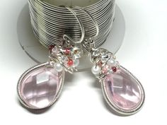 Whisper Pink  Coiled Wrapped Earrings w Sterling by fatdogbeads, $35.00