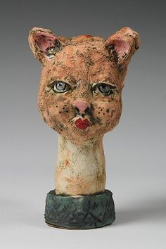 Penney Bidwell Ceramic Sculpture - Two Faced--Cat view