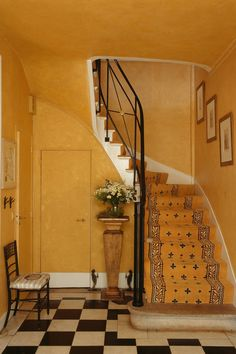 Stairs rise steeply from the elegant pale yellow Directoire hallway: The stair carpet is a Braquenie archive design. Carpet Staircase, Open Staircase, Staircase Design, Staircase Ideas, Staircase Runner, Shop Interior Design, Interior Decorating, House Design, Architecture Restaurant