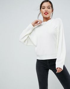 ASOS Sweater with Ruffle Detail - Cream