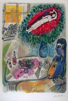 marc chagall lithographs | Marc Chagall - Reverie - Lithograph : Lot 735