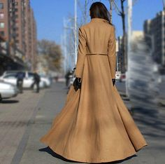 Winter Wool Blend Trench Coat Elegant Outwear Coats Long Maxi Dress 2016 Design