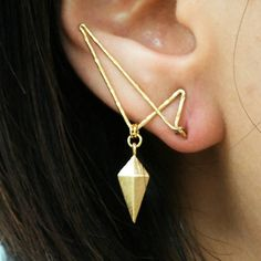 Diamond Shield Ear Jacket Pin / Handmade Simple Unique Earring Gold Ear Jacket Etsy Jewelry Korean Jewelry Unique Gold Jewelry BijouNooy
