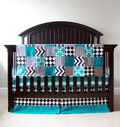 Custom Crib Bedding - Black And Turquoise Madhatter Bedding