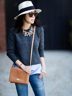 We can't decide on our favorite piece in this look? Is it the cozy sweater, statement necklace, or sophisticated hat? http://www.bhg.com/beauty-fashion/fashion/our-favorite-fall-2014-fashion-trends/?socsrc=bhgpin102114accessorizeyourstaples&page=3