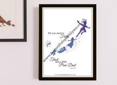 A modern Peter Pan printable, which is available to download as soon as your purchase is made.  Printables allow you to cut out delivery costs and time, hence making home decoration projects and gift buying much easier.  This printable features Peter Pan, Wendy and Tinkerbell flying with a Purple-Blue Ombre colouring.  There are also other matching Peter Pan printable items available in the shop to complete your theme. www.beautifulsparklyme.co.uk