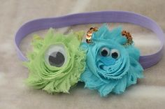 Monsters Inc., Mike and Sulley Inspired Shabby Chic Headband - would cute as hairbow with single monster choice. Shabby Chic Headbands, Baby Headbands, Flower Headbands, Disney Diy, Disney Crafts, Little Doll, Little Girls, Mike From Monsters Inc, Mike And Sulley