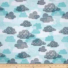 Cloud 9 Organic First Light Passing Clouds Blue from @fabricdotcom  Designed by Eloise Renouf for Cloud 9, this GOTS Certified organic cotton fabric is perfect for quilting, apparel and home decor accents. Colors include white, turquoise, and navy.