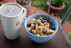Yogurt, Banana, Blueberries and Cereal with Almond Butter