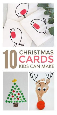 Handmade Christmas cards kids can make. Easy cute DIY homemade Christmas card ideas suitable for preschool and school children, including religious, funny and vintage cards made with handprint… Christmas Cards Handmade Kids, Simple Christmas Cards, Christmas Card Crafts, Christmas Cards For Children, Christmas Card Ideas With Kids, Christmas Crafts For Kids To Make At School, Printable Christmas Cards, Childrens Homemade Christmas Cards, Funny Christmas