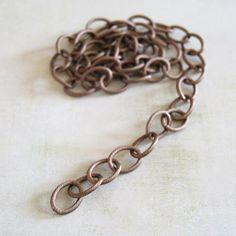 Chaîne Gros Maillons Ciselés - Anneaux ouverts - Métal Cuivré - 30 cm : Chaines, chainettes par lfeemain