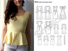 Create / Enjoy: How to make a peplum top out of any dress pattern! Two ways...