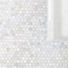 Mosaic Decorator Carrara White Penny Round Honed Floor & Wall Tile