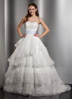 Wedding Dresses - $199.99 - Ball-Gown Sweetheart Chapel Train Organza Satin Wedding Dress With Lace Sash Bow(s) Cascading Ruffles (002012750) http://jjshouse.com/Ball-Gown-Sweetheart-Chapel-Train-Organza-Satin-Wedding-Dress-With-Lace-Sash-Bow-S-Cascading-Ruffles-002012750-g12750