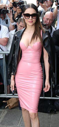 Pink Flouncing PU Celebrity Style Bandage Dress
