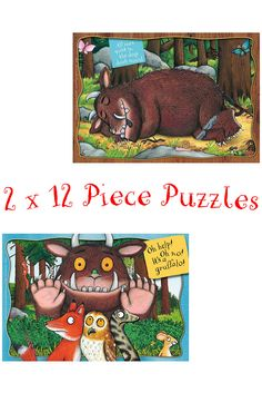 This puzzle set contains two bright and colourful Gruffalo puzzles that are developed and designed especially for children aged 3+. There's no such thing as a Gruffalo? Find out how the Gruffalo is ready to scare the Fox, Owl and Snake in the deep dark scary wood!