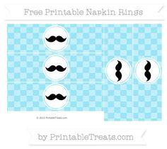 Free Pastel Aqua Blue Checker Pattern Mustache Napkin Rings