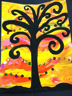 """Warm color paint background with silhouette tree. I had them pick from a cup of sequins for a """"test"""" of warm colors  MD"""