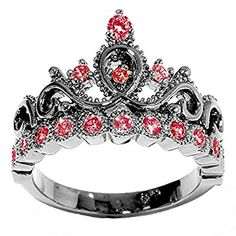 Black Rhodium 14K White Gold Princess Crown CZ Birthstone Ring
