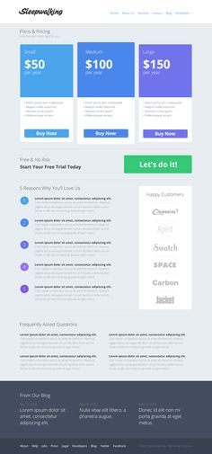 Sleepwalking pricing page #blue #table #webdesign
