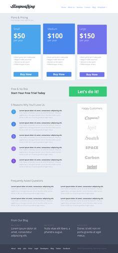 Sleepwalking pricing page #blue #table #webdesign