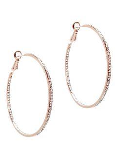 Lisa Freede Rose Gold Crystal Hoop Earrings