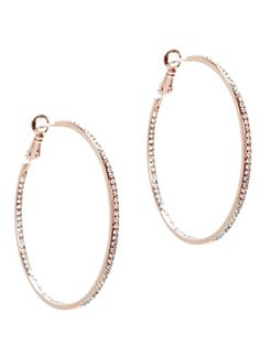 Lisa Freede Rose Gold Crystal Hoop Earrings