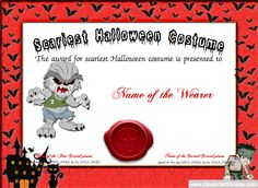 Certificate of appreciation for halloween costume halloween scariest costume certificate free halloween templates you can add text yadclub Image collections