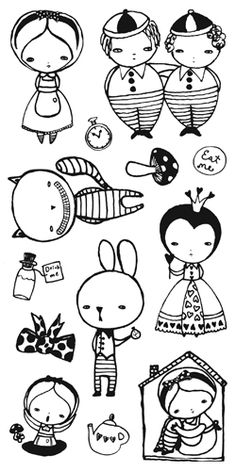 These are some really awesome Alice in Wonderland Stamps! ~ Alice in Wonderland by Danita - Original Art Stamps