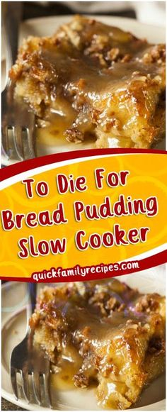 To Die For Bread Pudding Slow Cooker – Quick Family Recipes - Desserts - Crockpot Recipes Slow Cooker Desserts, Crock Pot Desserts, Crockpot Dishes, Crock Pot Slow Cooker, Crock Pot Cooking, Köstliche Desserts, Cooking Recipes, Crockpot Dessert Recipes, Quick Recipes