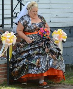 MommaJune work'n that camo wedding dress