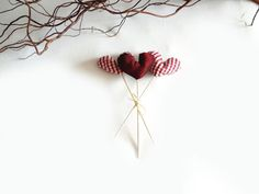 hearts bouquet  2 red white gingham hearts plus 1 by lalunadianna